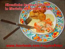 Säuerliche Seelachs-Stücke in Bierteig mit Karotten-Soße - Rezept