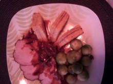 Schinkenbraten - Schweinebraten mit Kartoffelbaumkuchen und Rosenkohl/Speck-Gemüse - Rezept