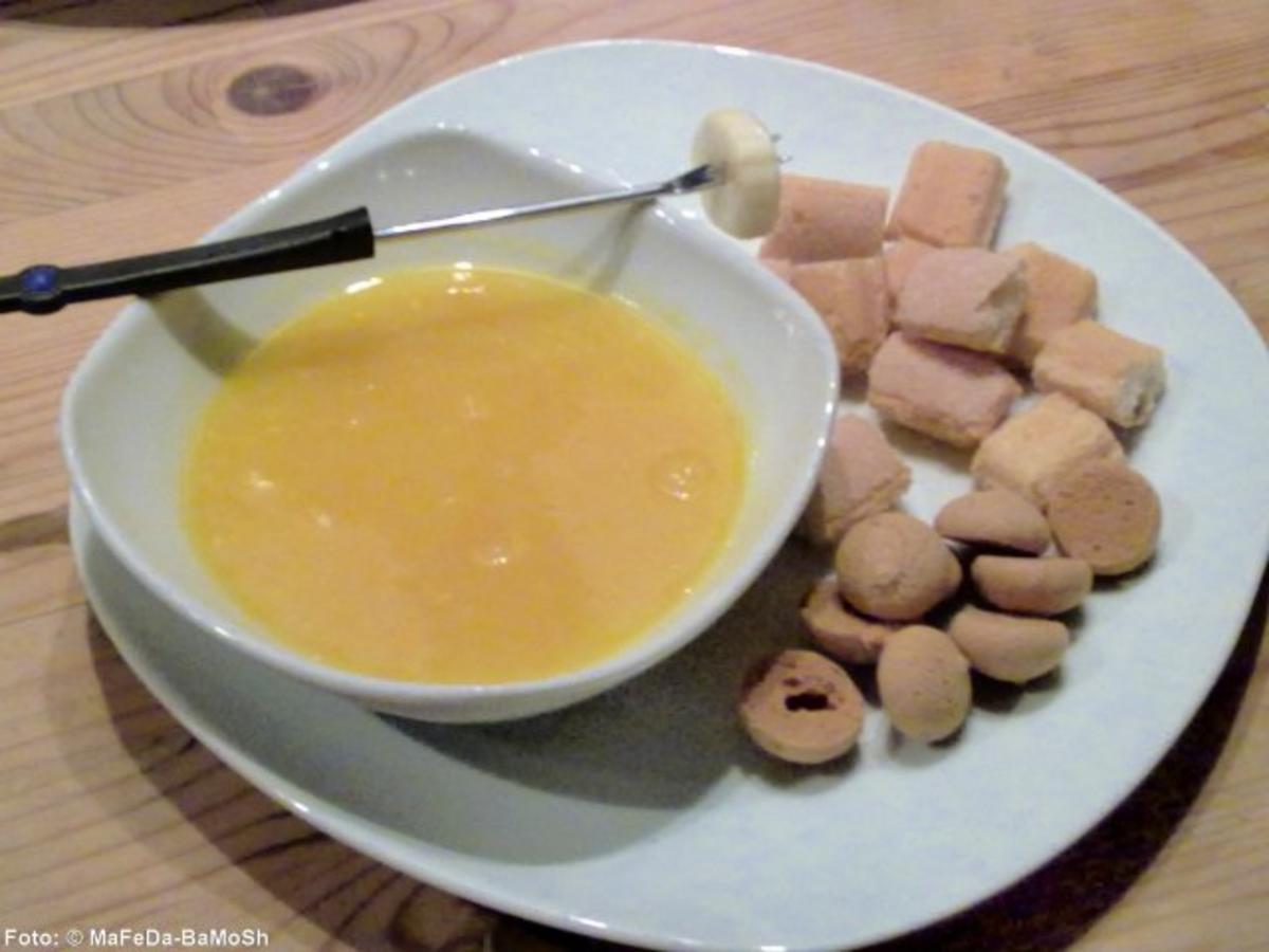 Bilder für Orangen-Fondue mit Amarettini - Rezept