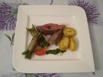 Lammfilet mit Lardobohnen, Minzpesto und Prinzessinenkartoffeln - Rezept