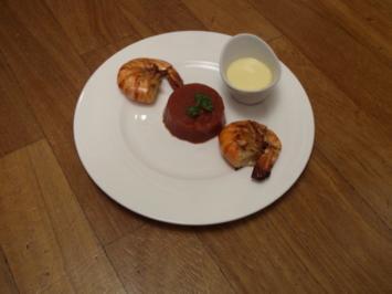 Tomatengelee mit marinierten Garnelen und Tequila-Mayonnaise - Rezept
