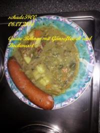 Suppen und Eintöpfe: Moni's Grüne Bohnen mit Gänsefleisch und Geflügelbockwurst - Rezept