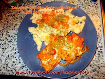 Zwiebel-Paprika Putenschnitzerl mit Spätzlenockerl - Rezept