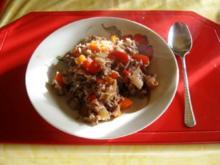 Hackfleisch Pfanne mit Paprika und Reis - Rezept