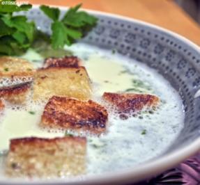 Rezept: Knoblauchsuppe mit Croutons