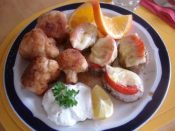Schweinefilets-Medaillons mit gebackenem Blumenkohl und Tatarsauce *) - Rezept