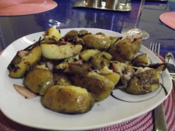 Kartoffeln: Bratkartoffeln mit Burgunderbraten und Bergkäse - Rezept