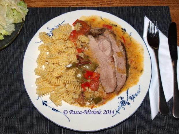 Putenschenkel mit Paprika-Rahmsauce - Rezept