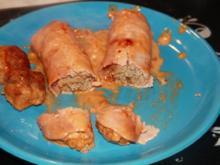 Schinkenröllchen mit Hackfleisch in Chili - Sahne Soße - Rezept