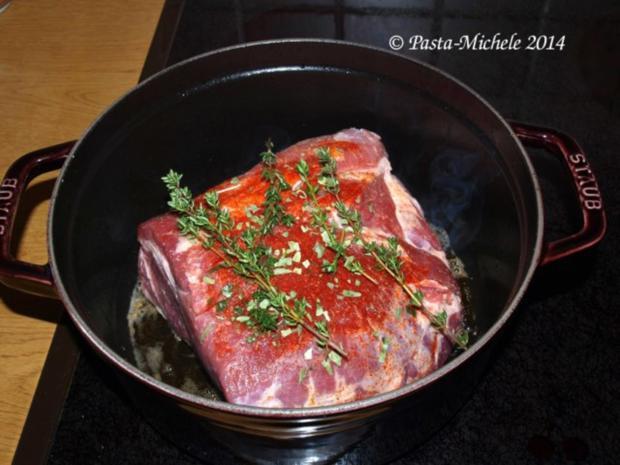 Schweinebraten pikant mit Schmoräpfeln und Zwiebeln - Rezept - Bild Nr. 2
