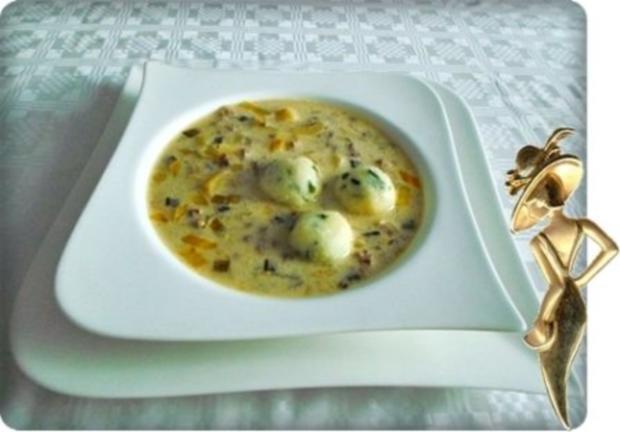 ※ Käse-Lauch-Hack Suppe mit Ricotta-Petersilie Klößchen ※ - Rezept