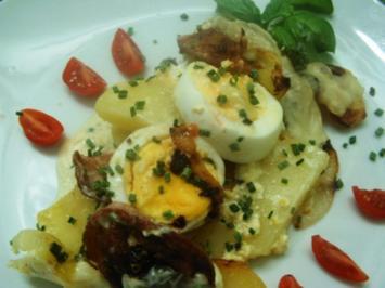 Kartoffel-Eier- Fleischwurstauflauf - Rezept