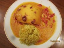 Hühnchenbrust überbacken mit Curryreis - Rezept