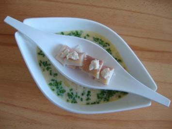 Sauerkrautrahmsüppchen mit geräucherter Forelle - Rezept