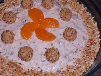 Dessert: Amarettini-Haselnuss-Schichtcreme mit Mandarinen - Rezept