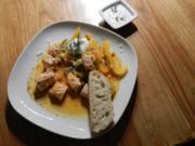 Gemüse-Lachs-Pfanne mit Meerrettich-Soße - Rezept