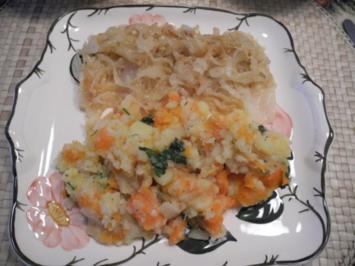 Rezept: Vegan : Glasierte Zwiebelringe an Gemüsestampf