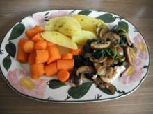 Vegan : Chamignons-Spinat-Pfanne mit Karotten-Kartoffel-Beilage - Rezept