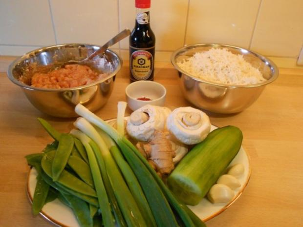 Gebratener Reis mit Hähnchenfleisch und Gemüse - Rezept - Bild Nr. 2