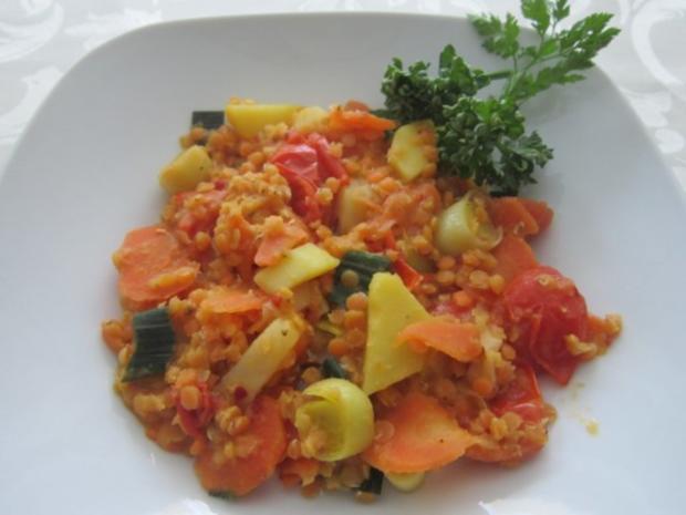 Geschmorte Linsen mit Gemüse - Rezept