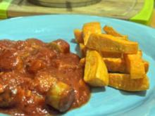 Mango-Currywurst mit Süßkartoffel-Pommes - Rezept