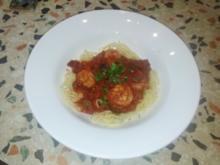 Spaghetti alla puttanesca e Scampi - Rezept