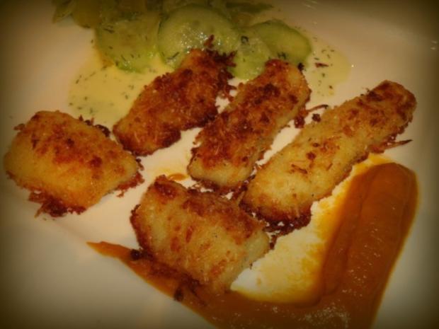 Panierte Kartoffel-Käse-Fischstäbchen - Rezept