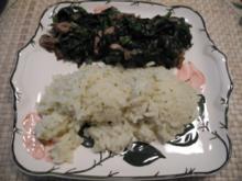 Vegan : Frischen Spinat an braunen Champignongs dazu Reis - Rezept