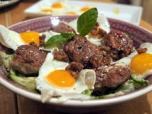 Entenfrikadellen auf Reisnudeln - Rezept