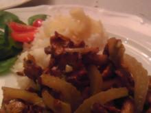 Pfifferling-Fenchel-Lauch Gemüse  an Jasmin-reis mit Igwerhaube - Rezept