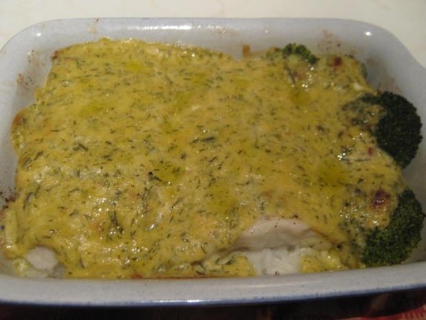 Kabeljau auf einem Reisbett, unter Senf-Sahne-Sauce überbacken - Rezept - Bild Nr. 5