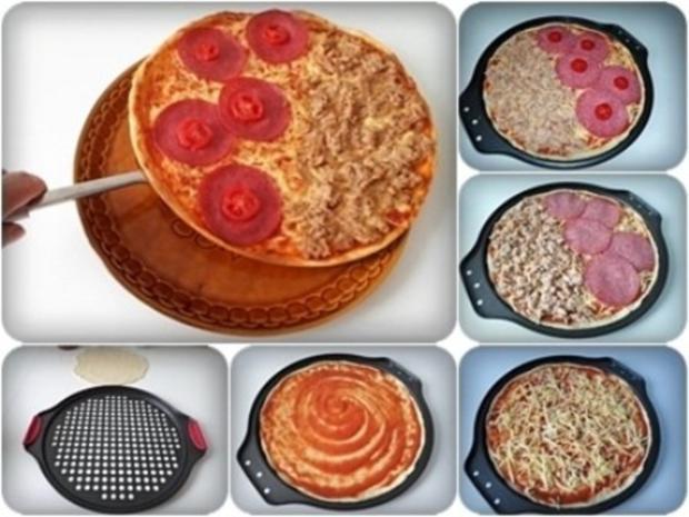 Selbstgemachte Thunfisch-Salami- Tomate- Käse  Pizza - Rezept - Bild Nr. 2