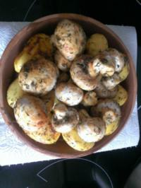 Geschnetzeltes mit Champignons u. Kartoffeln im Blumentopf - Rezept