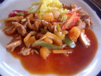 Schweinefilet süß-sauer mit gelben Reis - Rezept