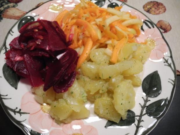 Vegan : Frischen Rote-Betesalat - Kartoffelsalat - Karottensalat - Rezept