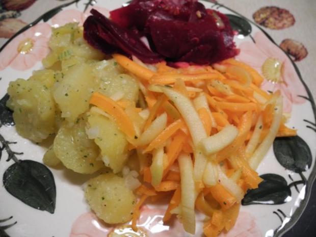Vegan : Frischen Rote-Betesalat - Kartoffelsalat - Karottensalat - Rezept - Bild Nr. 2