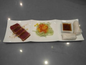 Quer durch'n Garten mit Fisch (Gemüsepäckchen mit Dip, Salat und Thunfisch) - Rezept