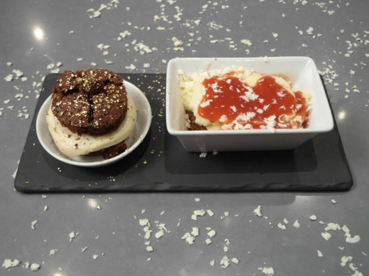 lasagne mit whoopie goldberg mousse aus wei er schokolade und pumpernickelmousse rezept. Black Bedroom Furniture Sets. Home Design Ideas