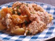 Ofengerichte: Fruchtiger Sauerkraut-Kartoffel-Auflauf mit Nürnberger Würstchen - Rezept