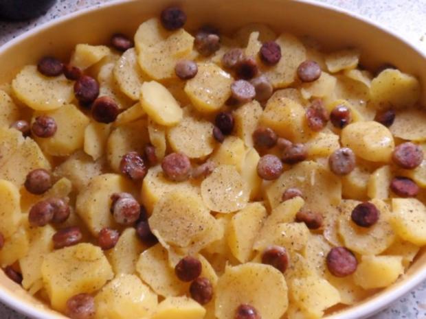 Ofengerichte: Fruchtiger Sauerkraut-Kartoffel-Auflauf mit Nürnberger Würstchen - Rezept - Bild Nr. 5