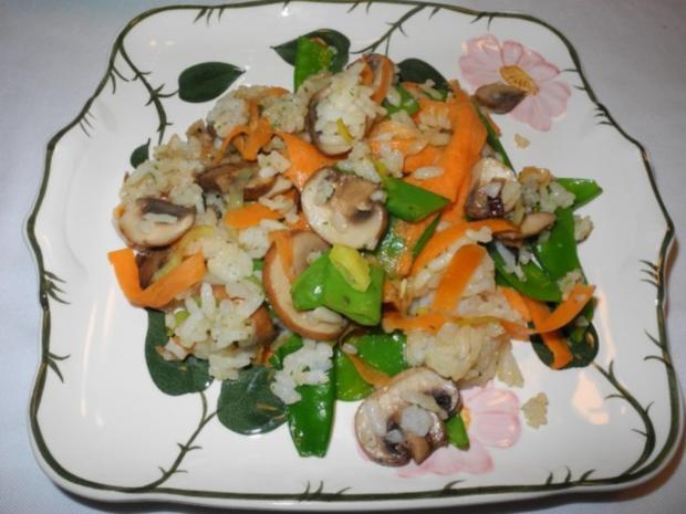 Vegan : Eine bunte und gesunde Gemüse - Reis - Pfanne - Rezept