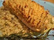 Lachs mit Senf-Meerrettich-Kruste auf pikantem Rahmwirsing - Rezept