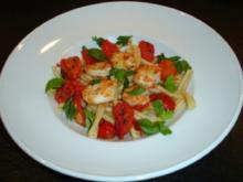 Pasta mit Garnelen und zweierlei Tomaten - Rezept