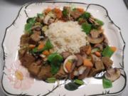 Vegan : Seitan - Vleisch - Pfanne mit Gemüse und Reis - Rezept