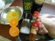 Geflügel: Orangen-Ingwer-Hähnchen auf Knoblauch-Paprika-Reis - Rezept