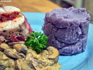 Gefüllte Hähnchenbrust, lia Kapü mit Lavendelduft, Rahmchampignons - Rezept