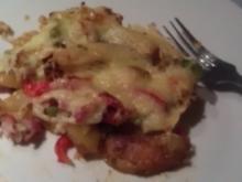 Westernkartoffeln mit Gemüse und Käse überbacken - Rezept