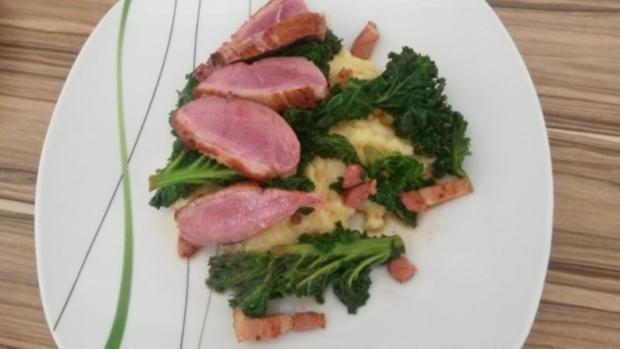 Entenbrust mit gespicktem Grünkohl und Kartoffelpüree - Rezept - Bild Nr. 9