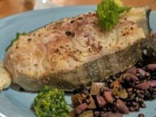 Skrei-Kotelett auf Linsen-Fenchel-Apfel-Gemüse und Gremolata-Pesto - Rezept