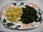 Vegan : Zwiebel - Kartoffel - Salat mit Porree - Grünkohl - Rezept